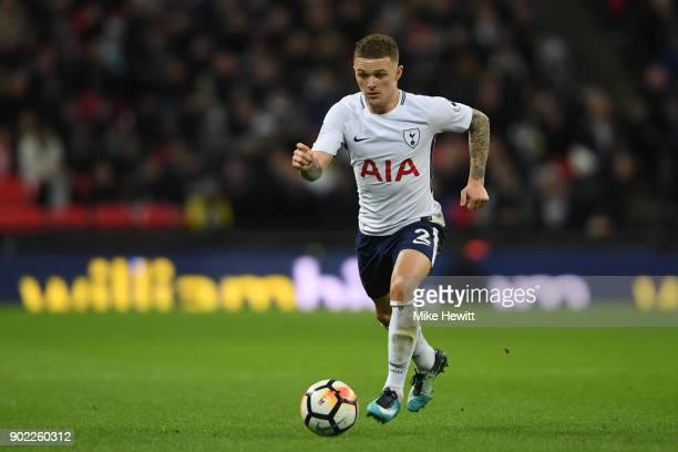 Kieran Trippier of Tottenham in action during The Emirates FA Cup Third Round match between Tottenham Hotspur and AFC Wimbledon at Wembley Stadium on...