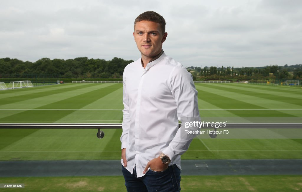 Kieran Trippier poses after he signs a new contract with Tottenham Hotspur on July 18, 2017 in Enfield, England.