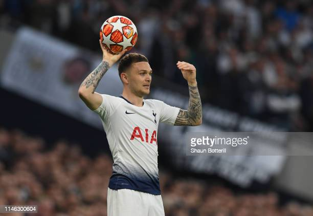 Kieran Trppier of Tottenham Hotspur takes a throw in during the UEFA Champions League Semi Final first leg match between Tottenham Hotspur and Ajax...