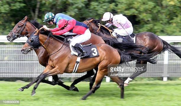 Kieren Fallon and Drunken Sailor land The Windflower Stakes run at Goodwood Racecourse on August 28 2010 in Chichester England
