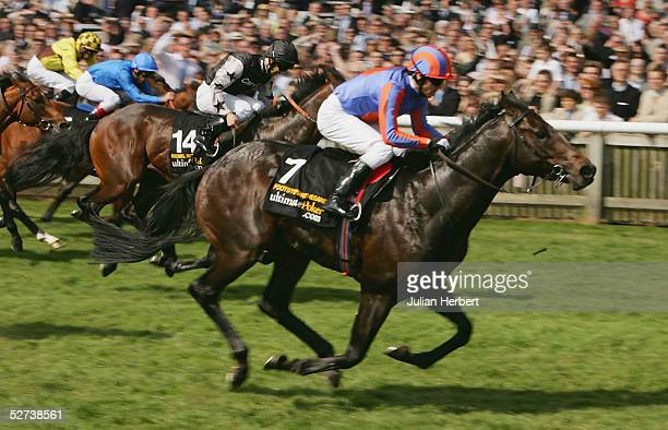 Kieren Fallon and Footstepsinthesand land The ultimatepokercom 2000 Guineas Stakes Race run at Newmarket Racecourse on April 30 2005 in Newmarket...