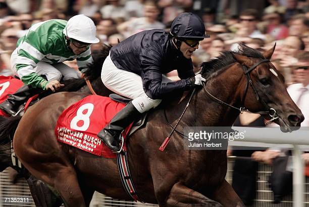 Kieren Fallon and Holy Roman Emperor land The Railway Stakes Race run at The Curragh Racecourse on July 2, 2006 at The Curragh, Ireland.