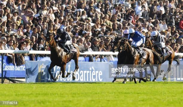 Kieren Fallon on Dylan Thomas win The Prix De L'Arc De Triomphe overtaking Lucien Barriere and Richard Hughes at Longchamp Racecourse on October 07...