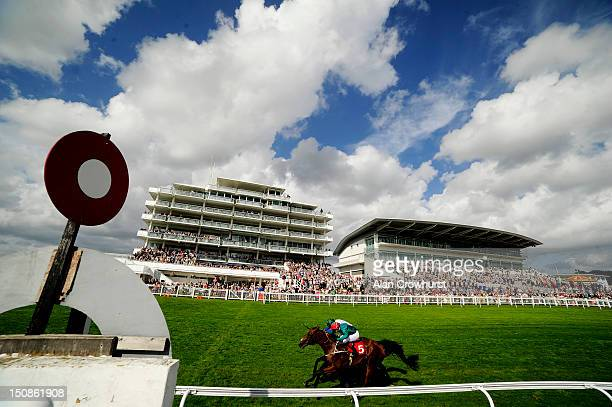 Kieren Fallon riding Royal Skies win The British Stallion Studs Supporting British Racing EBF Maiden Stakes from Van Percy at Epsom racecourse on...