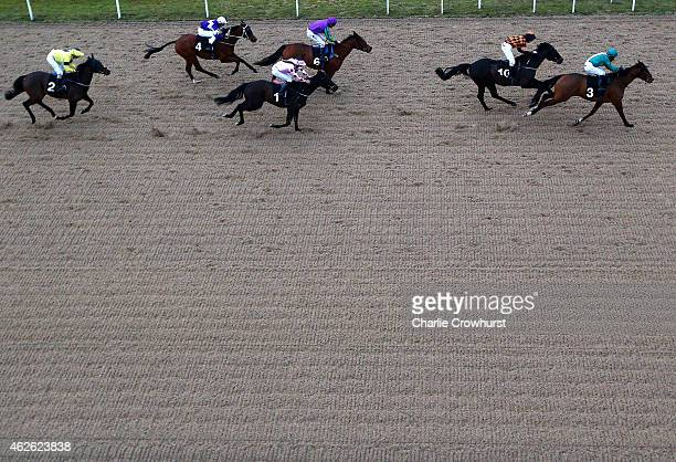 Kieren Fox rides Gung Ho Jack to win The Lookers Land Rover of Bishops Stortford Handicap Stakes at Chelmsford City racecourse on February 01 2015 in...