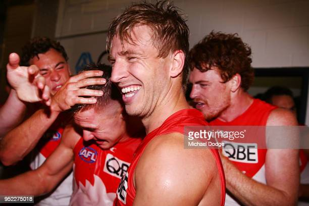 Kieren Jack of the Swans celebrates the win during the round six AFL match between the Geelong Cats and Sydney Swans at GMHBA Stadium on April 28...