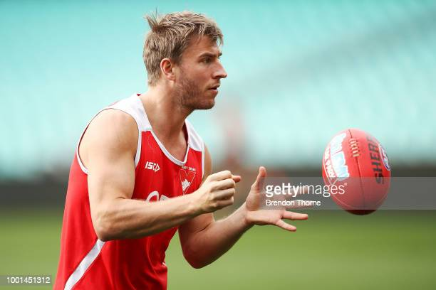 Dane Rampe of the Swans kicks during a Sydney Swans AFL training session at the Sydney Cricket Ground on July 19 2018 in Sydney Australia