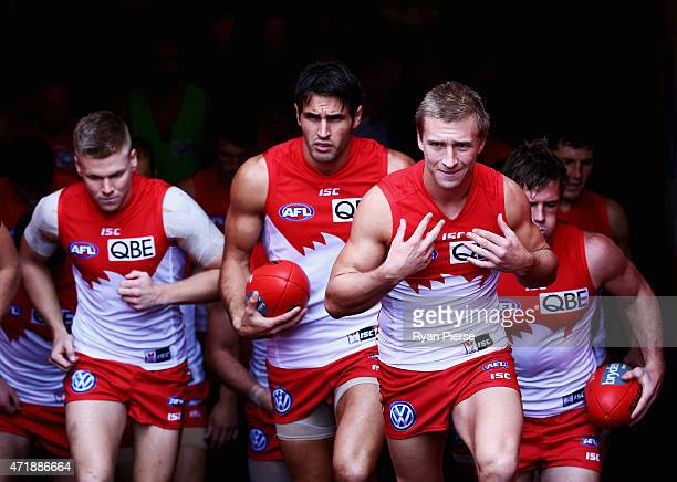 Kieren Jack of the Swans leads his team out during the round five AFL match between the Sydney Swans and the Western Bulldogs at SCG on May 2 2015 in...