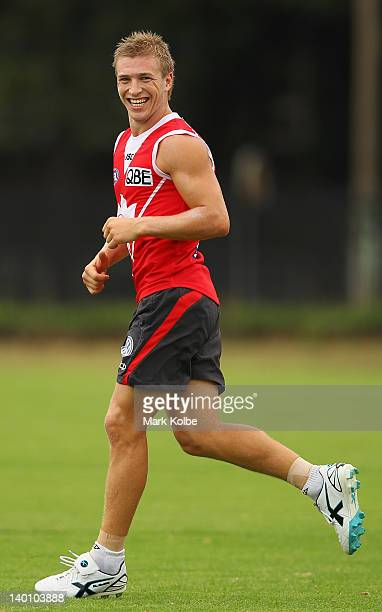 Kieren Jack shares a laugh with a team mate during a Sydney Swans AFL training session at Lakeside Oval on February 28, 2012 in Sydney, Australia.