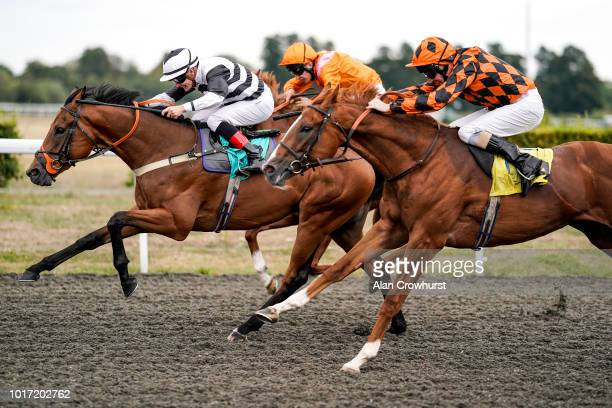 Kieren ONeill riding Precision Prince win The starsportsbet Nursery Handicap Stakes at Kempton Park on August 15 2018 in Sunbury England