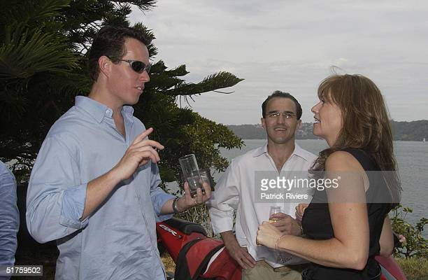 Kieren Perkins Johnny Kahlbetzer and Donna Gardner at the launch of Leathers by Donna Gardner at Windemere in Sydney where she lives with current...