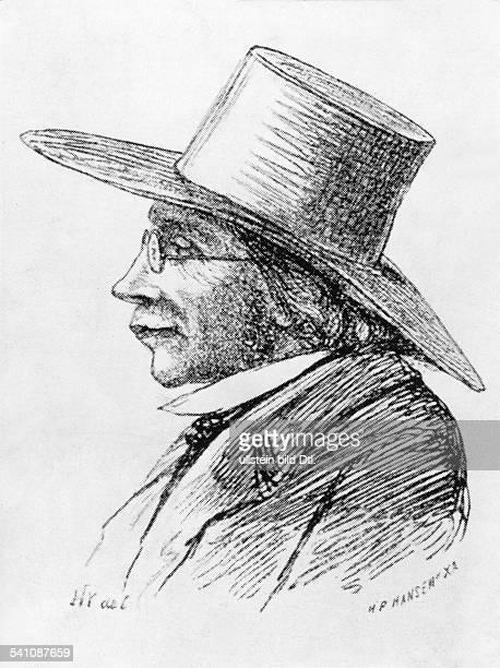 Kierkegaard, Soeren*05.05.1813-11.11.1855+Philosoph, Theologe, DK- Portrait, Holzschnitt von H.P.Hansen nach einer Zeichnung