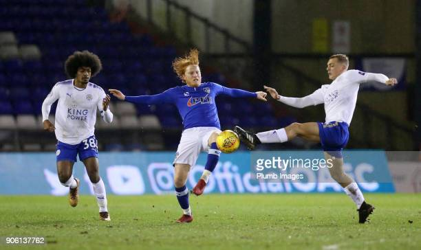Kiernan DewburyHall and Hamza Choudhury of Leicester City in action with Ben Pringle of Oldham Athletic during the Checkatrade Trophy tie between...