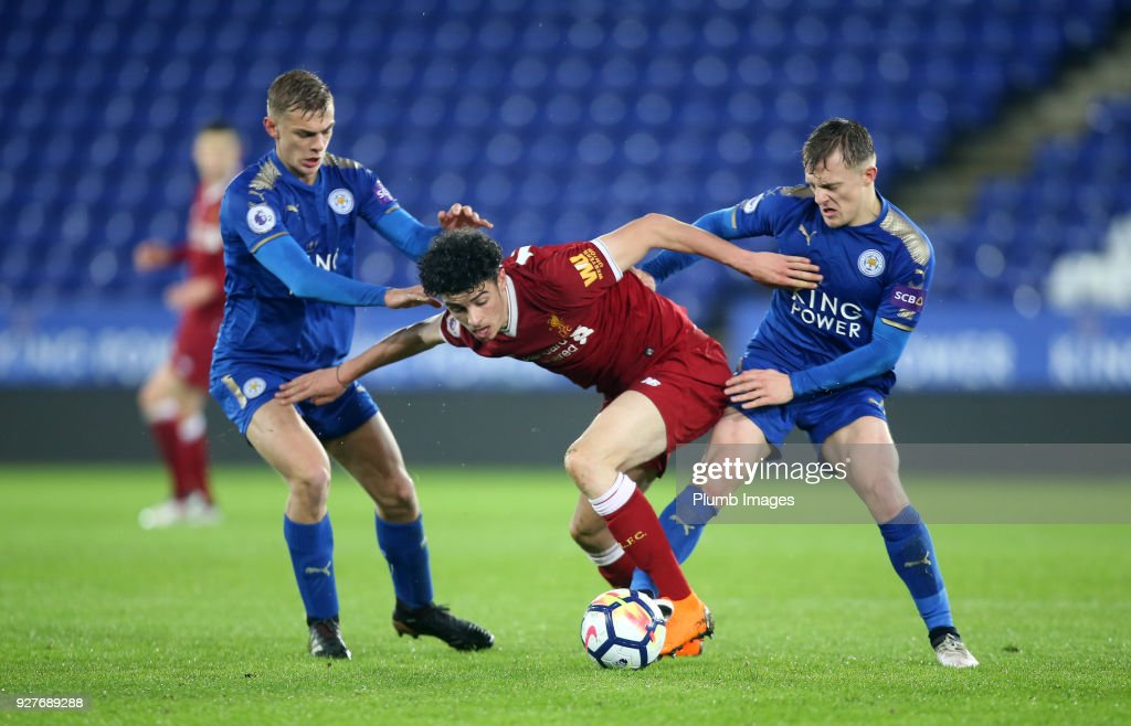 Kiernan Dewsbury-Hall and George Thomas of Leicester City in action with Curtis Jones of Liverpool during the Premier League 2 match between Leicester City and Liverpool at King Power Stadium on March 5, 2018 in Leicester, United Kingdom
