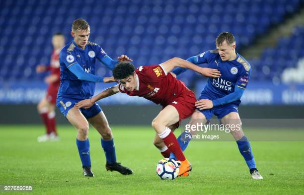 Kiernan DewsburyHall and George Thomas of Leicester City in action with Curtis Jones of Liverpool during the Premier League 2 match between Leicester...