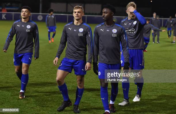 Kiernan DewsburyHall and Lamine Kaba Sherif of Leicester City ahead of the Premier League 2 match between Leicester City and Barnsley at Holmes Park...