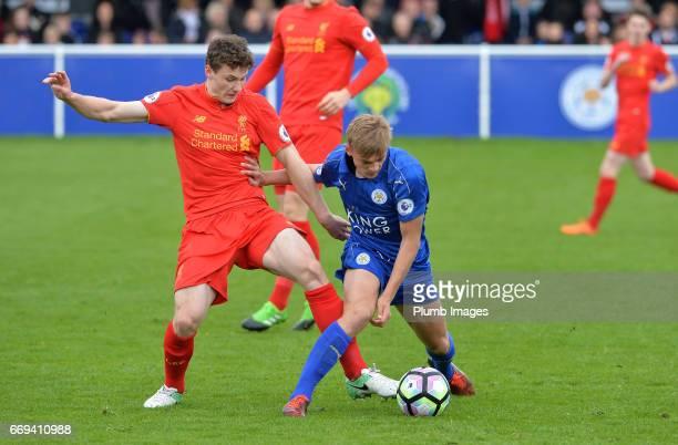 Kiernan DewsburyHall of Leicester City against Matt Virtue of Liverpool during the game between Leicester City and Liverpool Premier League 2 match...