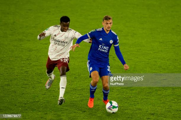 Kiernan DewsburyHall of Leicester City and Eddie Nketiah of Arsenal during the Carabao Cup match between Leicester City and Arsenal at the King Power...