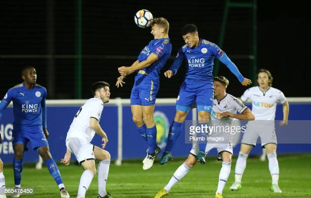 Kiernan DewsburyHall of Leicester City climbs highest to win the header during the Premier League 2 match between Leicester City and Swansea City at...