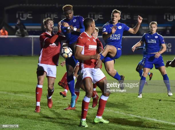 Kiernan DewsburyHall of Leicester City gets a shot away in a packed box during the Premier League 2 match between Leicester City and Barnsley at...