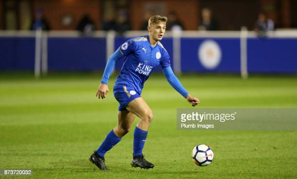 Kiernan DewsburyHall of Leicester City in action during the Premier League Cup tie between Leicester City and Portsmouth at Holmes Park on November...