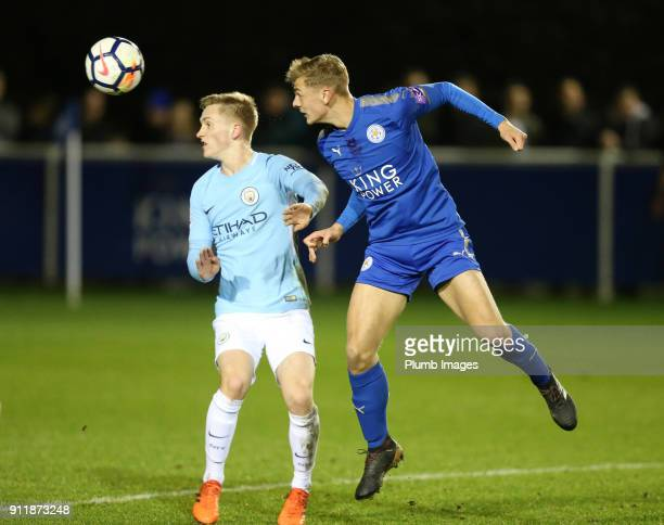 Kiernan DewsburyHall of Leicester City in action during the Premier League 2 match between Leicester City and Manchester City at Holmes Park on...