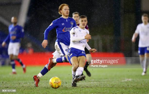 Kiernan DewsburyHall of Leicester City in action during the Checkatrade Trophy tie between Oldham Athletic and Leicester City at Boundary Park on...