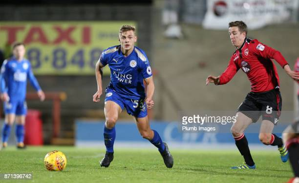 Kiernan DewsburyHall of Leicester City in action with Andrew Fleming of Morecambe during the Checkatrade Trophy tie between Morecambe and Leicester...