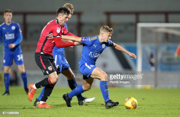 Kiernan DewsburyHall of Leicester City in action with Elliot Osborne of Morecambe during the Checkatrade Trophy tie between Morecambe and Leicester...