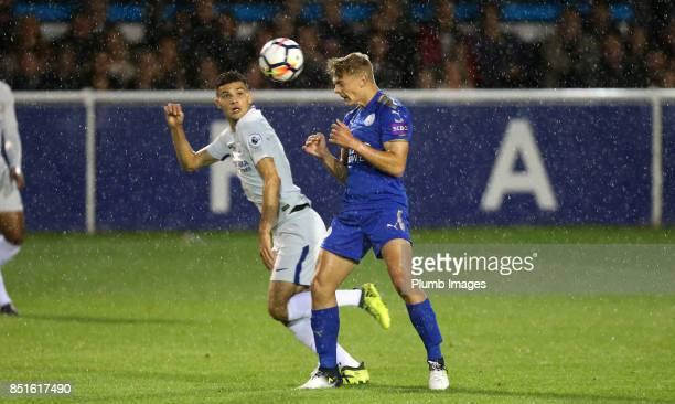 Kiernan DewsburyHall of Leicester City in action with Isaac ChristieDavies of Chelsea during the Premier League 2 match between Leicester City and...