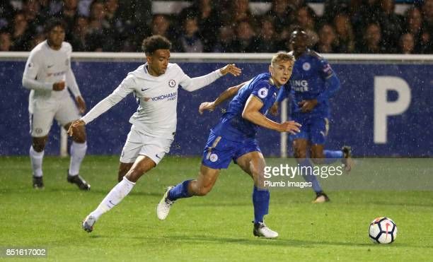 Kiernan DewsburyHall of Leicester City in action with Jacob Maddox of Chelsea during the Premier League 2 match between Leicester City and Chelsea at...