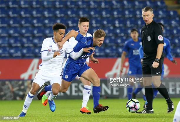 Kiernan DewsburyHall of Leicester City in action with Joshua Grant of Chelsea during the FA Youth Cup Sixth Round tie between Leicester City and...