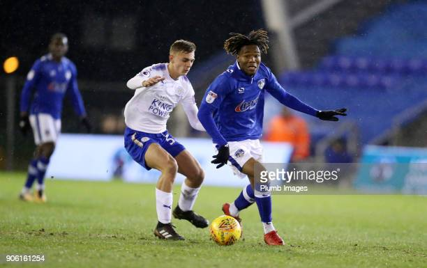 Kiernan DewsburyHall of Leicester City in action with Kendai Benyu of Oldham Athletic during the Checkatrade Trophy tie between Oldham Athletic and...