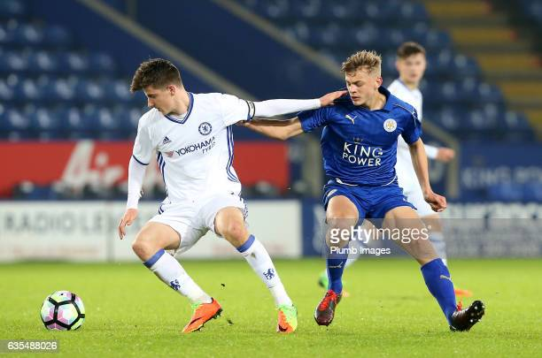 Kiernan DewsburyHall of Leicester City in action with Mason Mount of Chelsea during the FA Youth Cup Sixth Round tie between Leicester City and...
