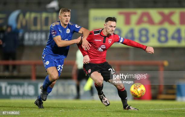 |Kiernan DewsburyHall of Leicester City in action with Michael Rose of Morecambe during the Checkatrade Trophy tie between Morecambe and Leicester...
