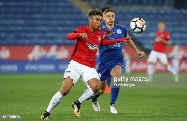 Kiernan DewsburyHall of Leicester City in action with Sidney Friede of Hertha Berlin during the Premier League International Cup tie between...