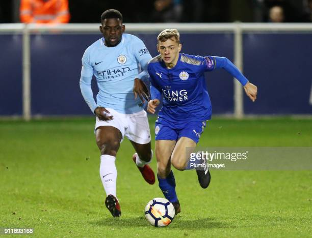 Kiernan DewsburyHall of Leicester City in action with Tomiwa DeleBashiru of Manchester City during the Premier League 2 match between Leicester City...