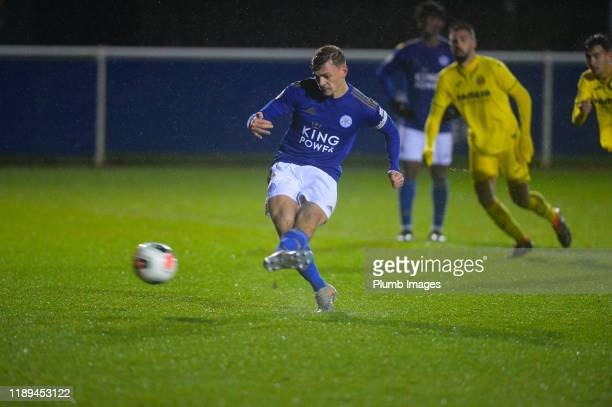 Kiernan DewsburyHall of Leicester City takes a penalty which is saved during the Leicester City U23 v Villarreal B PL International Cup at Holmes...
