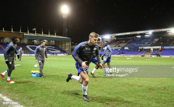 Kiernan DewsburyHall of Leicester City warms up at Boundary Park ahead of the Checkatrade Trophy tie between Oldham Athletic and Leicester City at...