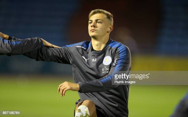 Kiernan DewsburyHall of Leicester City warms up at Brunton Park ahead of the EFL Checkatrade Trophy tie between Carlisle United and Leicester City at...