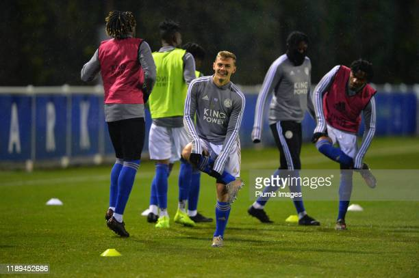 Kiernan DewsburyHall of Leicester City warms up before the Leicester City U23 v Villarreal B PL International Cup at Holmes Park on December 18th...