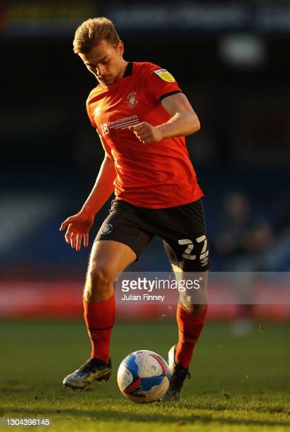 Kiernan Dewsbury-Hall of Luton in action during the Sky Bet Championship match between Luton Town and Sheffield Wednesday at Kenilworth Road on...