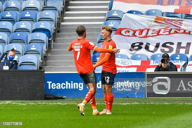 Kiernan Dewsbury-Hall of Luton town celebrates after scoring his team's first goal with Harry Cornick of Luton town during the Sky Bet Championship...