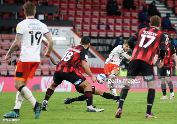 Kiernan Dewsbury-Hall of Luton Town scores his team's first goal during the Sky Bet Championship match between AFC Bournemouth and Luton Town at...