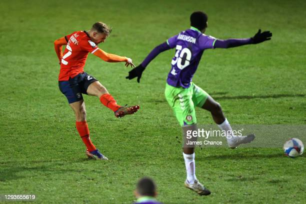 Kiernan Dewsbury-Hall of Luton Town scores their team's second goal during the Sky Bet Championship match between Luton Town and Bristol City at...