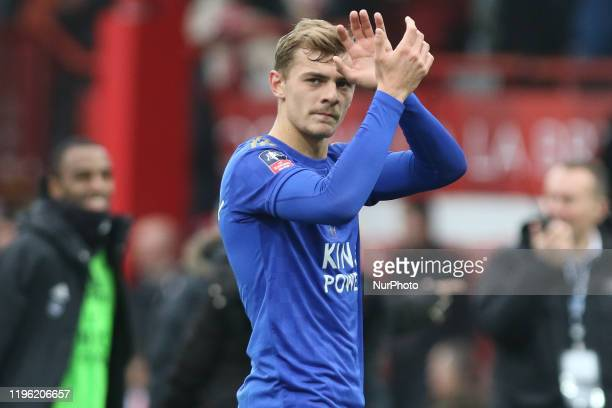 Kiernan DewsburyHell of Leicester City clapping the away fans during the FA Cup match between Brentford and Leicester City at Griffin Park London on...