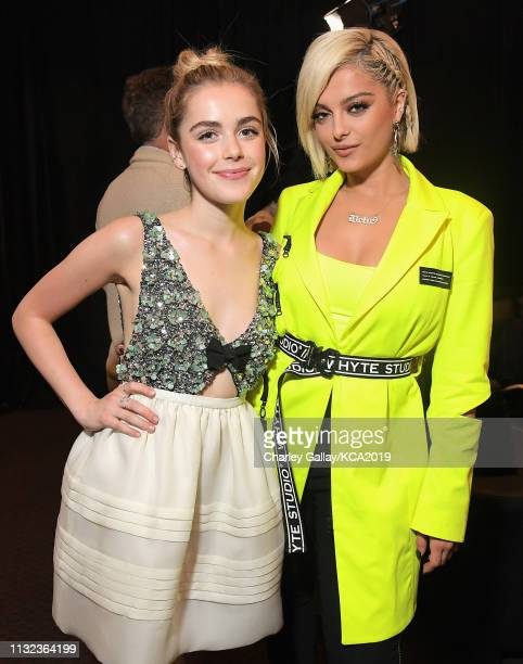 Kiernan Shipka and Bebe Rexha attend Nickelodeon's 2019 Kids' Choice Awards at Galen Center on March 23 2019 in Los Angeles California