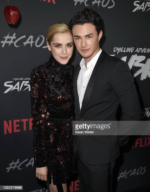 Kiernan Shipka and Gavin Leatherwood arrive at the premiere of Netflix's Chilling Adventures Of Sabrina at the Hollywood Athletic Club on October 19...