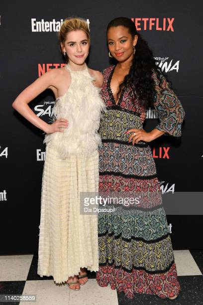 Kiernan Shipka and Jaz Sinclair attend a screening of the Chilling Adventures of Sabrina Part 2 hosted by Entertainment Weekly and Netflix at the...