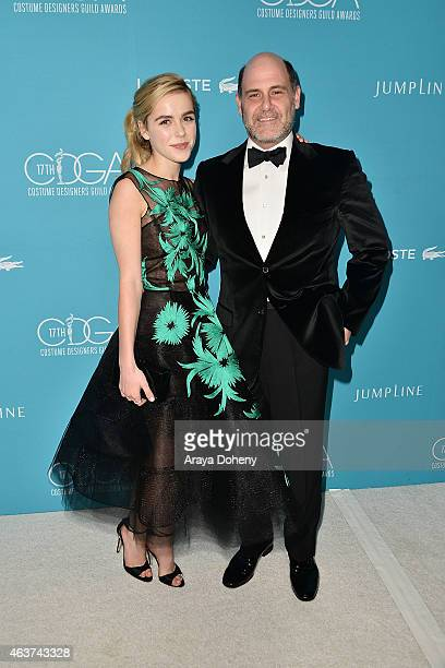 Kiernan Shipka and Matthew Weiner attend the 17th Costume Designers Guild Awards at The Beverly Hilton Hotel on February 17 2015 in Beverly Hills...